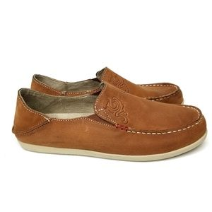 Olukai Nohea Nubuck Koa Slip On Shoes Loafers 7.5